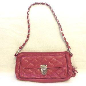 NWOT red quilted tassel zipper mini shoulder bag